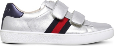 GUCCI New Ace VL metallic leather trainers 4-8 years