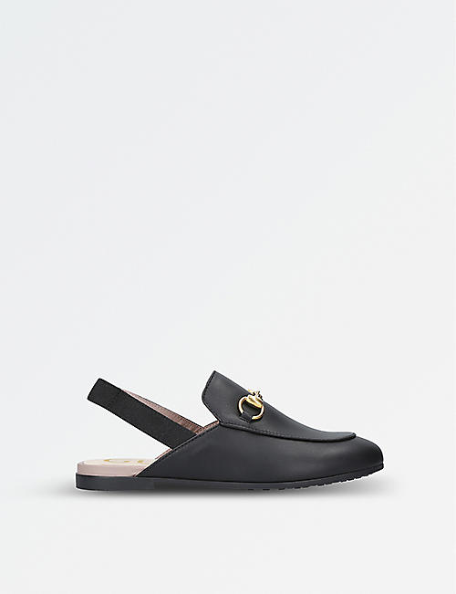 GUCCI: Princetown leather slingback loafers 4-8 years