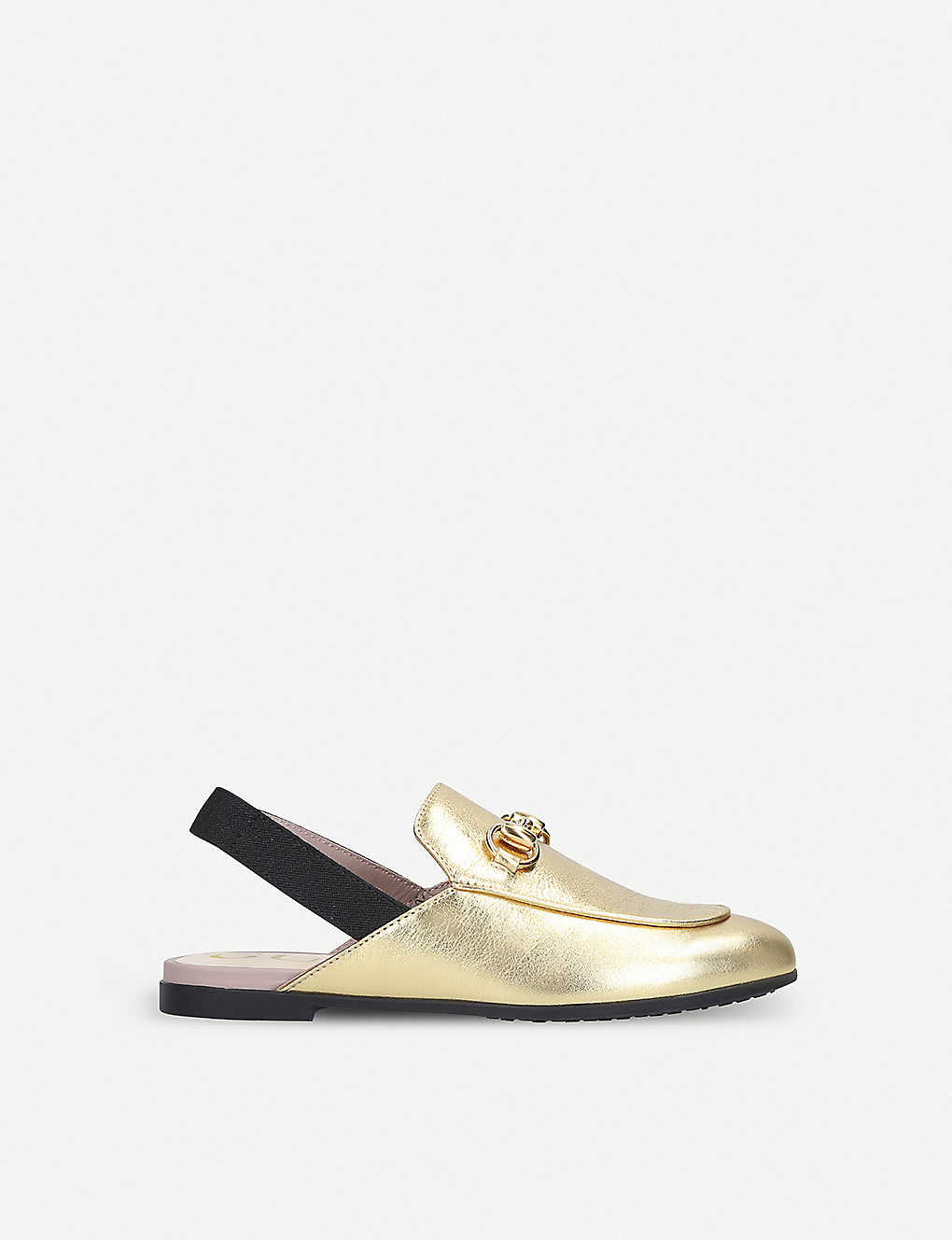GUCCI: Princetown metallic leather slingback loafers 4-8 years