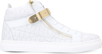 GIUSEPPE ZANOTTI Nicki croc-embossed leather trainers 8-12 years