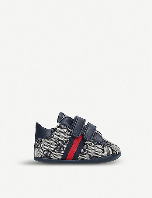 GUCCI: New Ace webbing and leather trainers 2-5 years