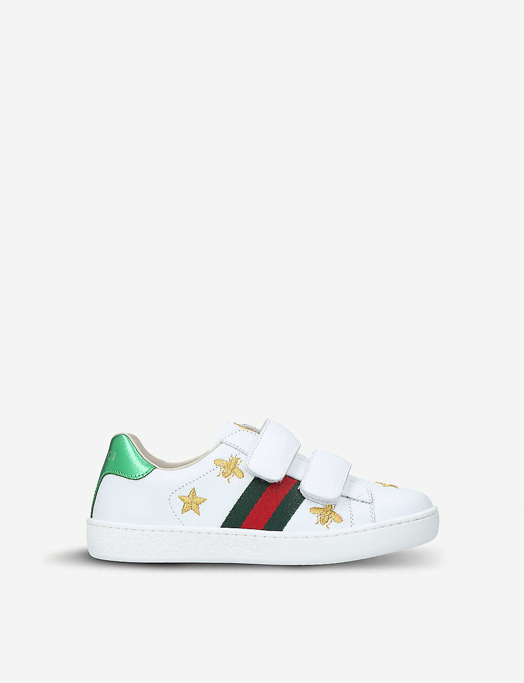 GUCCI: New Ace bee-embroidered leather trainers 5-8 years