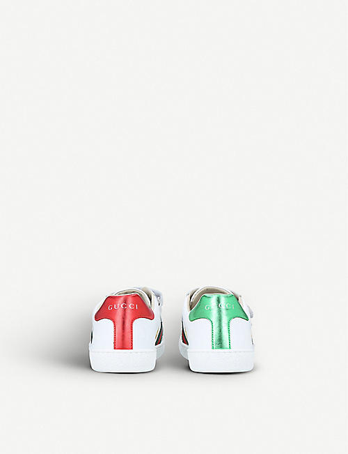38f34e5ba3463 GUCCI New Ace bee star leather trainers