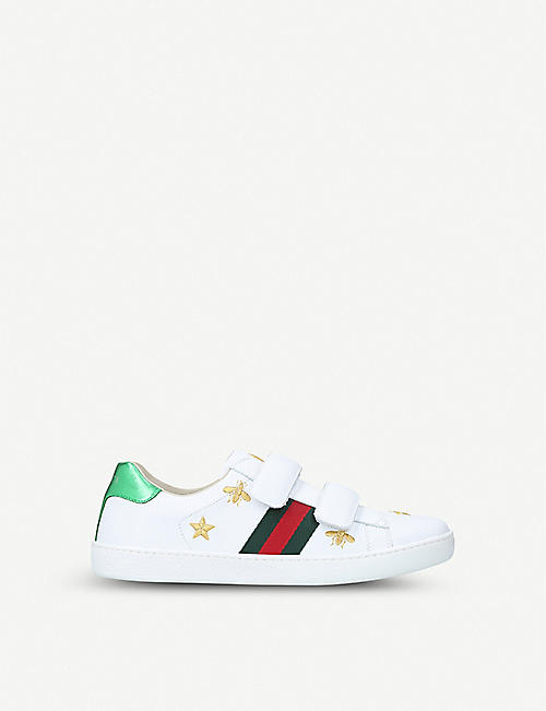 881d9463666 GUCCI New Ace bee star leather trainers