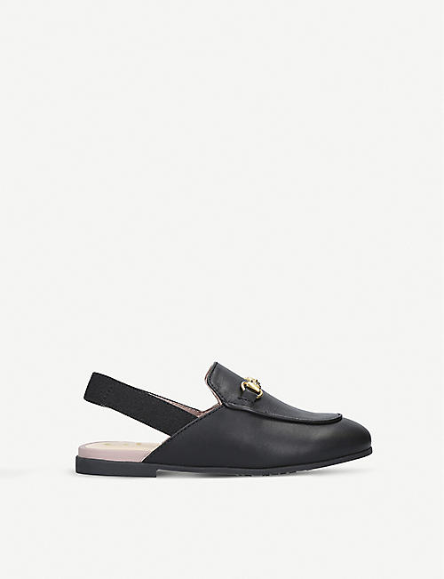 GUCCI: Princetown leather slingback loafers 3-5 years