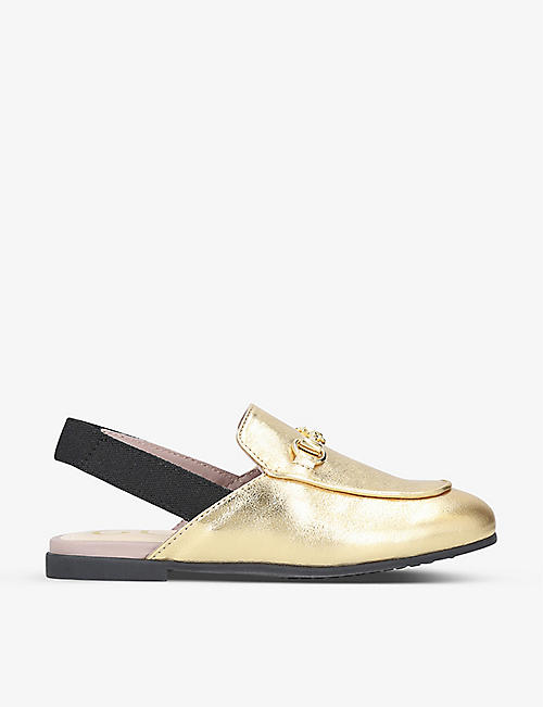 GUCCI: Princetown metallic leather slingback loafers 1-4 years