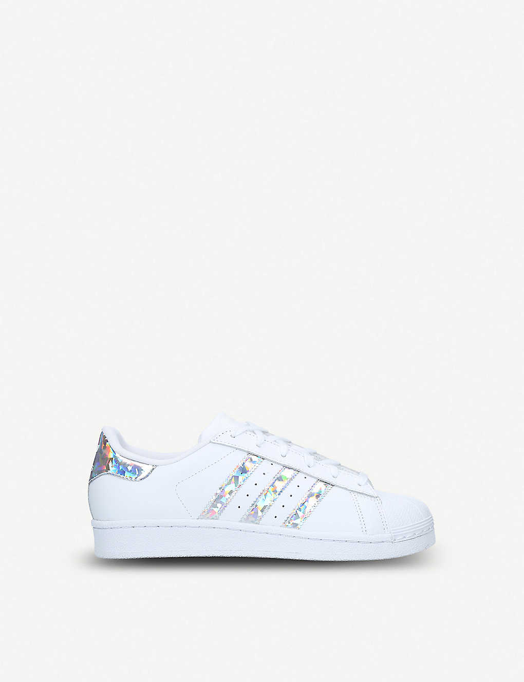 new concept 6e9c9 a81bf Superstar iridescent-stripe leather trainers 9-11 years