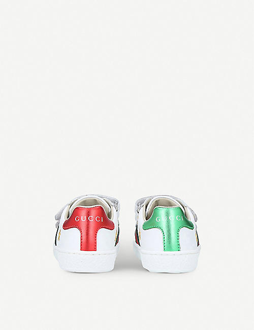 GUCCI New Ace bee star leather trainers 1-4 years