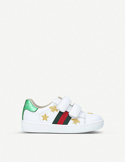 fd04366b51a GUCCI New Ace bee star leather trainers 1-4 years