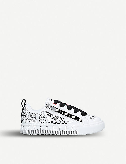 9a22ea441a42a KURT GEIGER LONDON Doodle printed zip-detail trainers 7-10 years