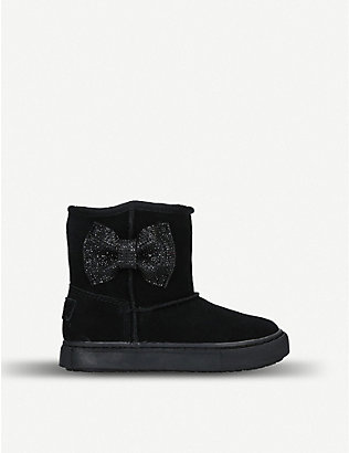 KURT GEIGER LONDON: Snug diamanté bow suede boots 3-7 years