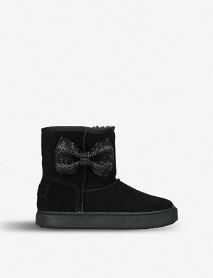 KURT GEIGER LONDON Snug diamanté bow suede boots 7-10 years