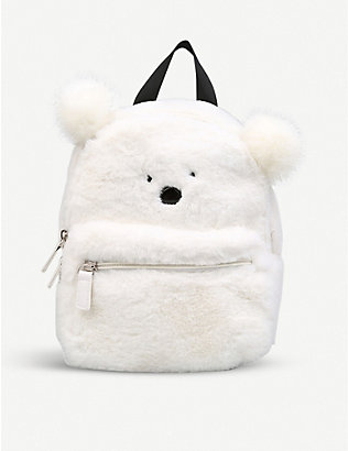 KURT GEIGER LONDON: Snowball faux-fur backpack