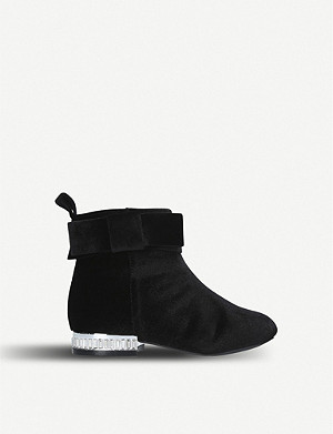 KURT GEIGER LONDON Glitz velvet boots 3-7 years