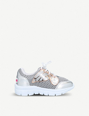 SOPHIA WEBSTER Chiara Mini Butterfly mesh-panelled metallic leather trainers 2-8 years