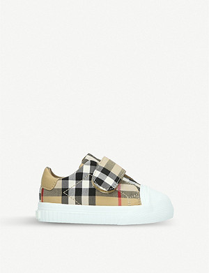 BURBERRY Beech canvas and leather trainers 6 months-2 years