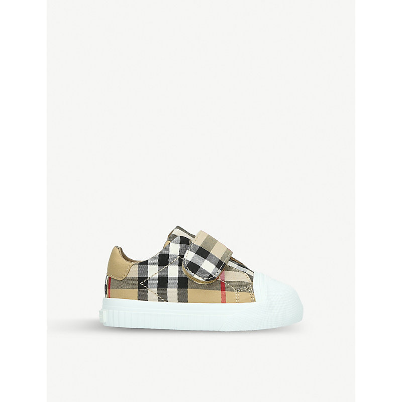 BURBERRY | Beech Canvas And Leather Trainers 6 Months-2 Years | Goxip