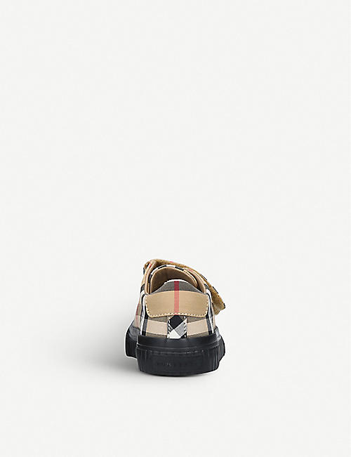 BURBERRY Belside canvas and leather trainers 3-4 years