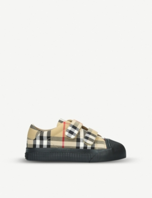 BURBERRY Belside canvas and leather trainers 5-9 years