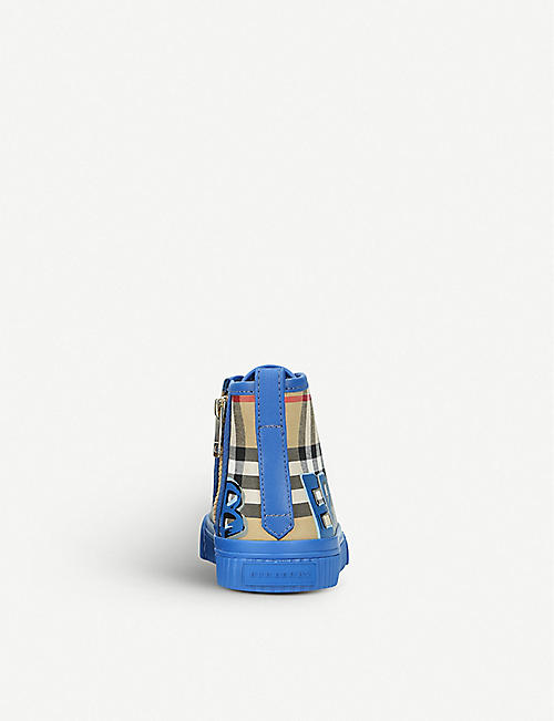BURBERRY Mini Kingly canvas and leather high-top trainers 5-9 years