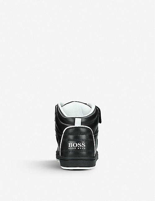 BOSS BY HUGO BOSS Logo leather high-top trainers 6-9 years