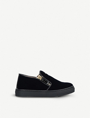 09ab30f24254c GIUSEPPE ZANOTTI - Coby Junior leather and velvet high-top trainers ...