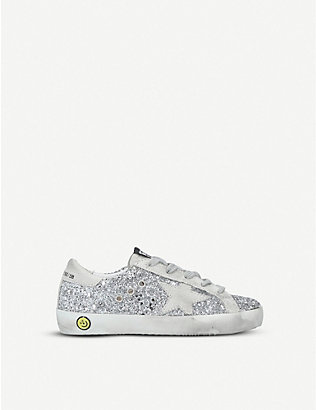 GOLDEN GOOSE: Superstar R8 glitter-embellished leather trainers 6-9 years