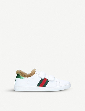 GUCCI New Ace shearling-lined leather trainers 4-8 years
