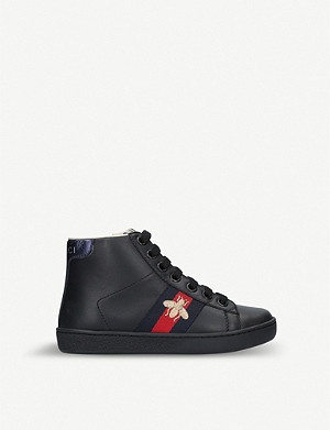 GUCCI New Ace leather high-top trainers 5-8 years