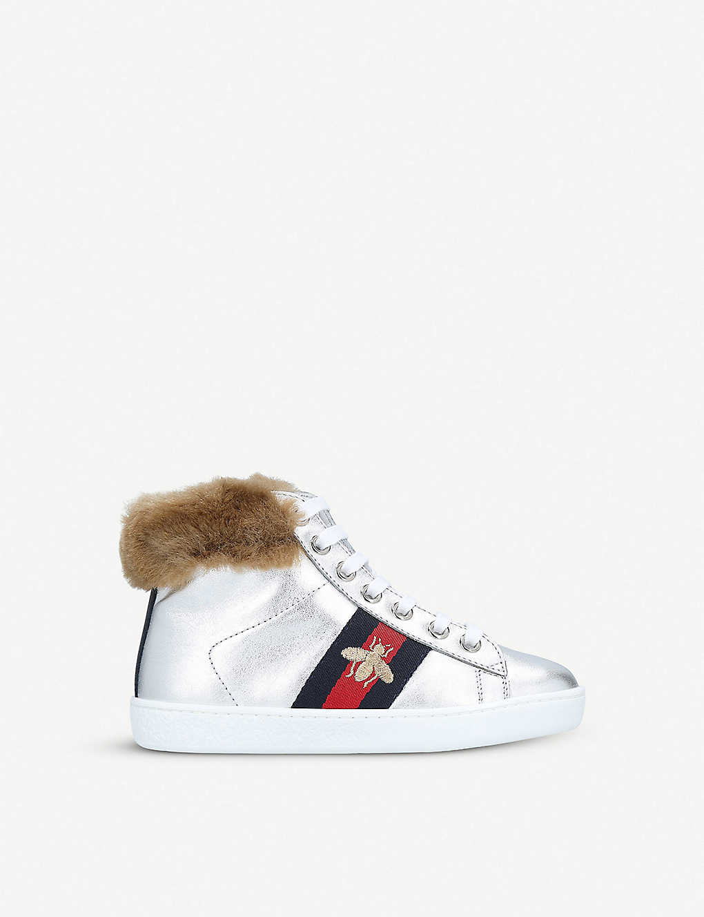 fa7080ea54fd4 GUCCI New Ace faux-fur and metallic leather high-top trainers 4-8 years