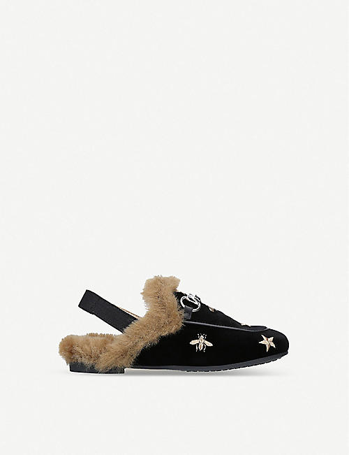 GUCCI Princetown faux-fur and velvet backless loafers