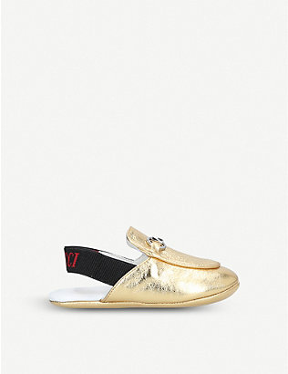 GUCCI: Princetown metallic leather loafers 4-6 months