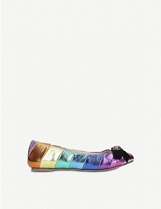 KURT GEIGER LONDON: Shimmer rainbow-metallic ballet flats 7-10 years