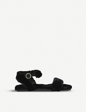 KURT GEIGER LONDON Smitten faux-fur sandals 7-10 years