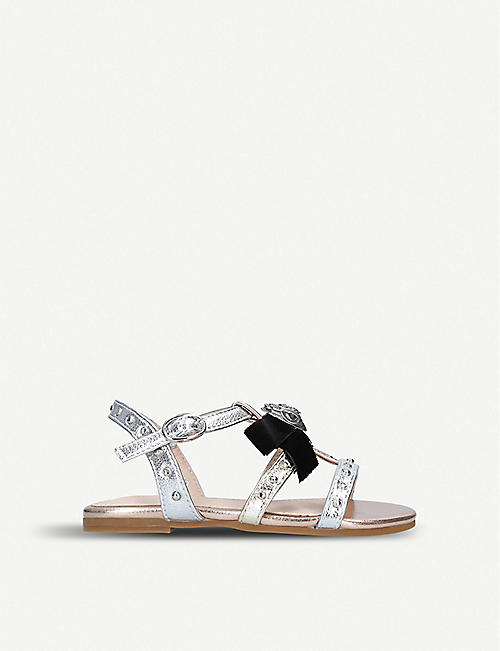 KURT GEIGER LONDON Luminate metallic faux-leather sandals