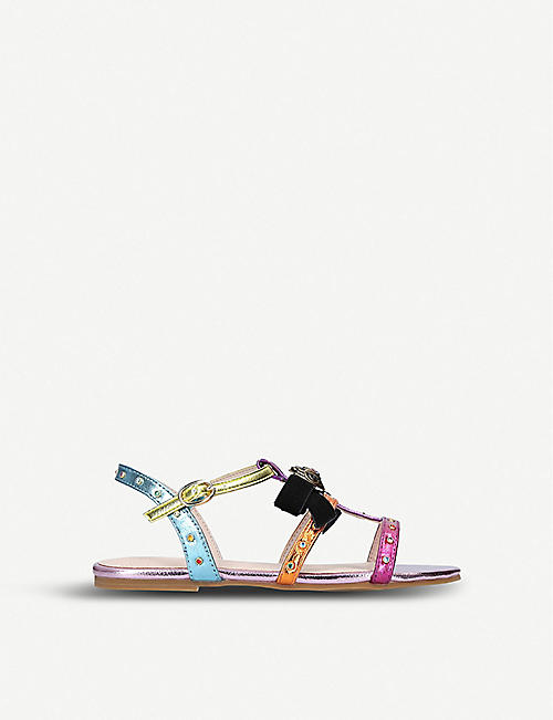 KURT GEIGER LONDON Luminate rainbow metallic faux-leather sandals 3-7 years