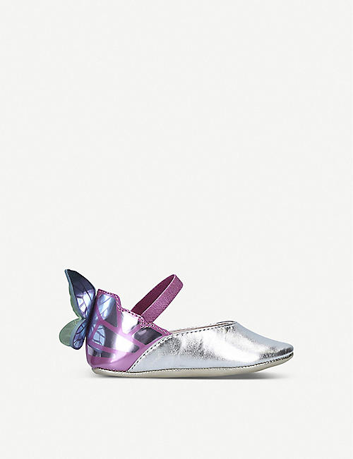 SOPHIA WEBSTER Chiara metallic butterfly leather flats 0-6 months