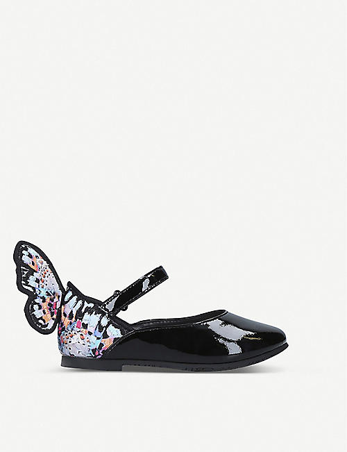 SOPHIA WEBSTER Chiara butterfly-embroidered patent leather ballet flats