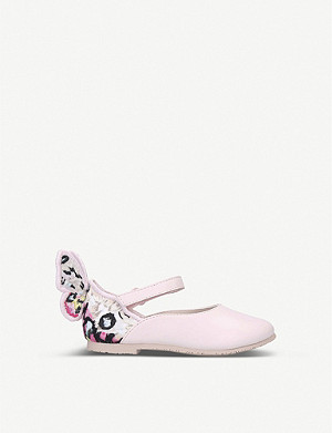 SOPHIA WEBSTER Chiara butterfly-embroidered patent leather ballet flats 2-4 years