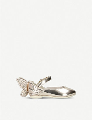 SOPHIA WEBSTER: Chiara butterfly-embroidered metallic leather ballet flats 2–4 years