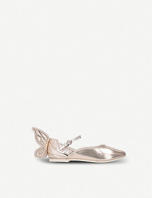 SOPHIA WEBSTER: Chiara butterfly-embroidered metallic leather ballet flats 5-8 years