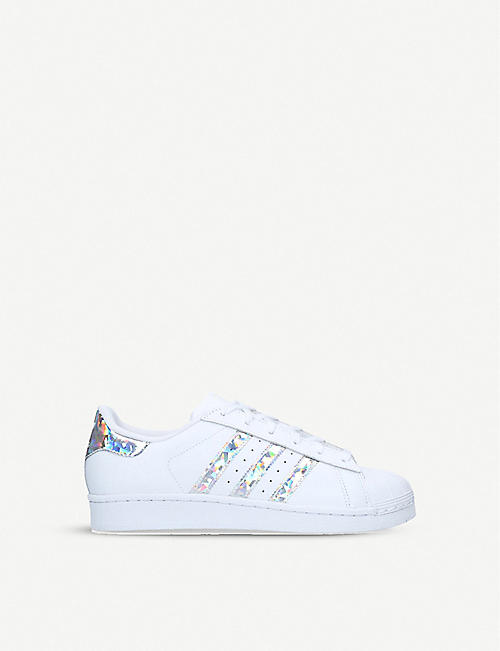 ADIDAS: Superstar iridescent-stripe leather trainers 1-5 years