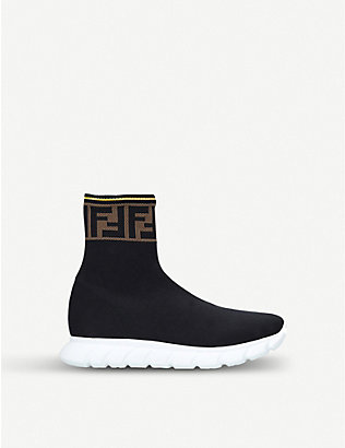 FENDI: FF-logo panel knit trainers 3-5 years