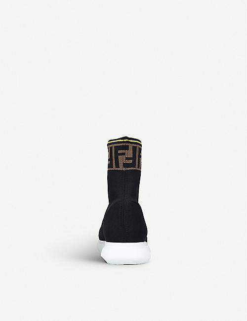FENDI FF-logo panel knit trainers