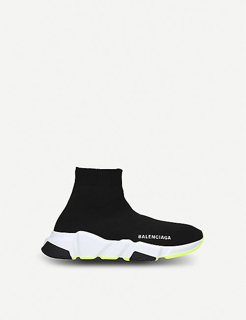 BALENCIAGA: Speed woven neon mid-top trainers 3-8 years