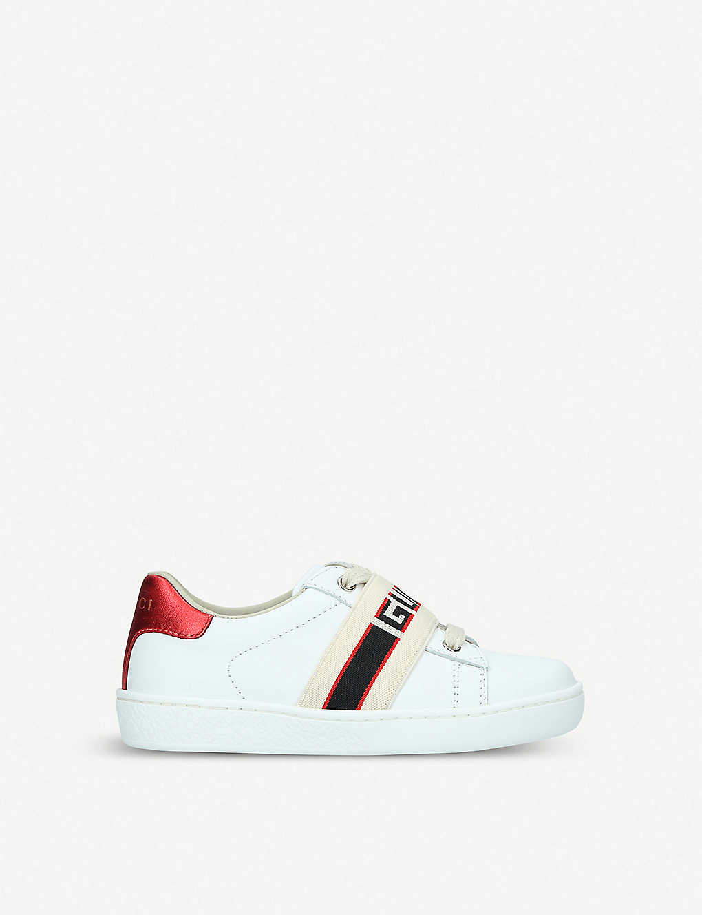 GUCCI: New Ace jacquard-panel leather trainers 3-5 years