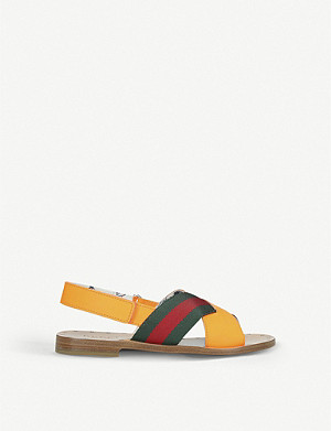 GUCCI Davis striped canvas and leather sandals