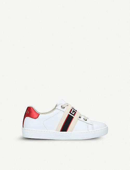 GUCCI New Ace jacquard-panel leather trainers 5-8 years