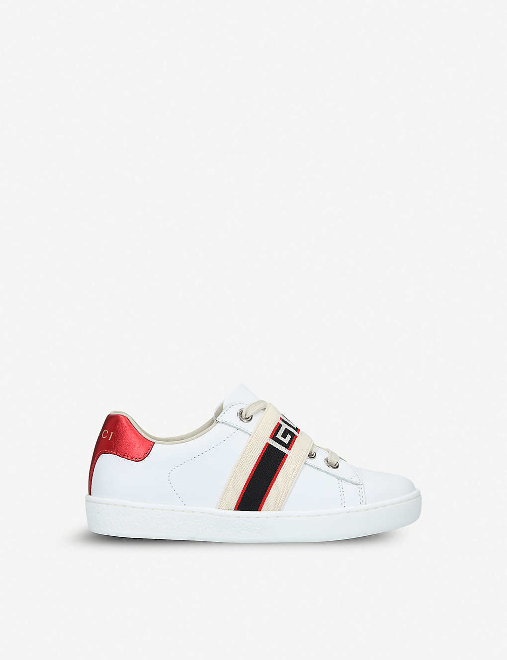 GUCCI: New Ace jacquard-panel leather trainers 5-8 years