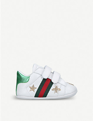 GUCCI: New Ace bee star leather traines 0-1 years
